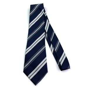 Burberry Blue, Silver and Grey 100% Silk Tie